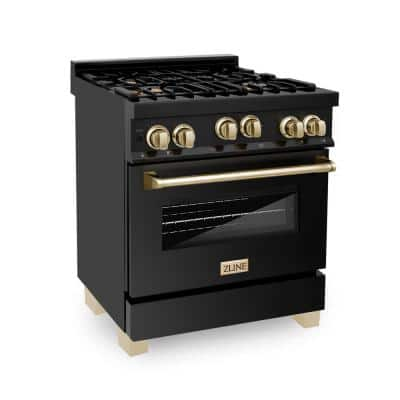 Autograph Edition 30 in. 4.0 cu. ft. with Gas Range Stove and Gas Oven in Black Stainless Steel with Gold Accents