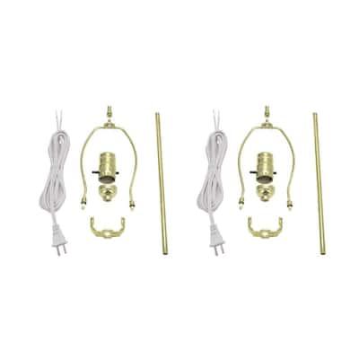 Brass Make-A-Lamp Push Through Socket Kit (2-Pack)