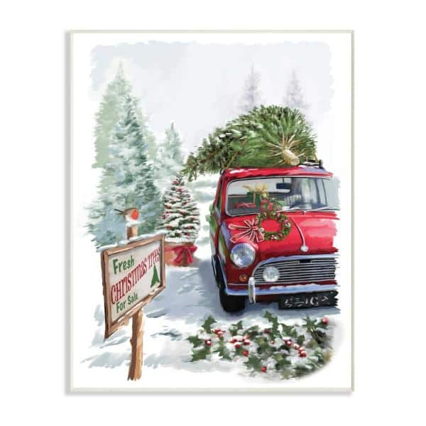 Stupell Industries 12 5 In X 18 5 In Holiday Fresh Christmas Trees On A Red Car Truck Painting By Artist P S Art Wood Wall Art Hwp 257 Wd 13x19 The Home Depot