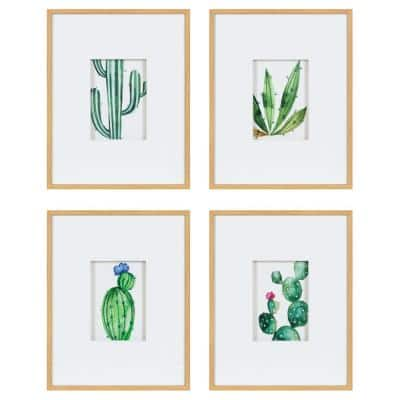 11 in. x 14 in. Liev Succulent Framed Print Art Set by Maja Mitrovic Framed Canvas Wall Art (Set of 4)