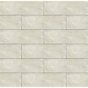 Zellige 2.5 in. x 8 in. Glossy Ceramic Gray Wavy Subway Tile (5.38 sq. ft./Case)