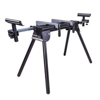 Compact Folding Miter Saw Stand with Quick Release Mounting Brackets