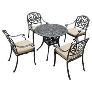 5-Piece Aluminum Outdoor Patio Dining Set with Beige Cushions