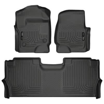 Front and 2nd Seat Floor Liners Fits 2017-19 Ford F-250/F-350 Crew Cab with Factory Storage Box