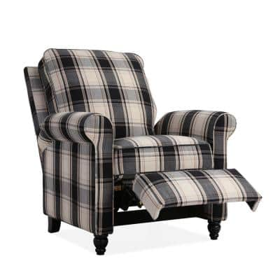 Push Back Recliner Chair in Brown and Black Plaid