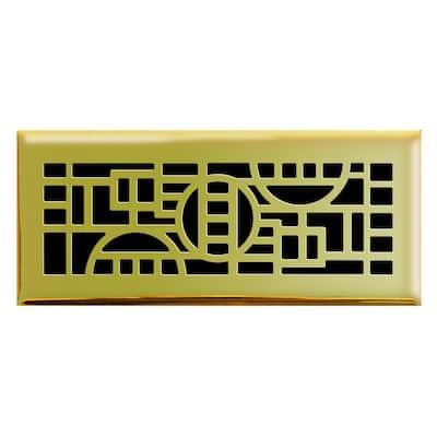 4 in. x 12 in. Cosmopolitan Floor Register in Polished Brass