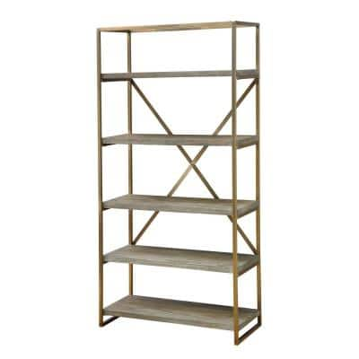 71.5 in. Biscayne Weathered/Gold Metal 5-shelf Etagere Bookcase with Open Back