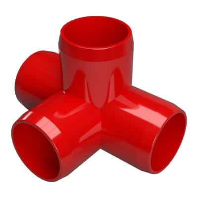 1 in. Furniture Grade PVC 4-Way Tee in Red (4-Pack)