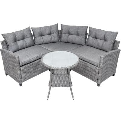 Belle 4-Pieces Wicker Patio Outdoor Furniture Set with Round Table with Gray Cushions