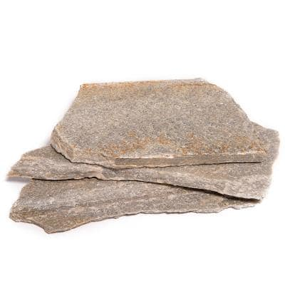 16 in. x 12 in. x 2 in. 120 sq. ft. Silver Quartzite Natural Flagstone for Landscape, Gardens and Pathways