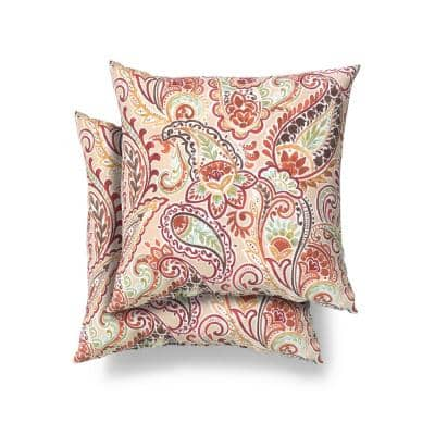 18 in. x 18 in. Chili Paisley Square Outdoor Throw Pillow (2 Pack)