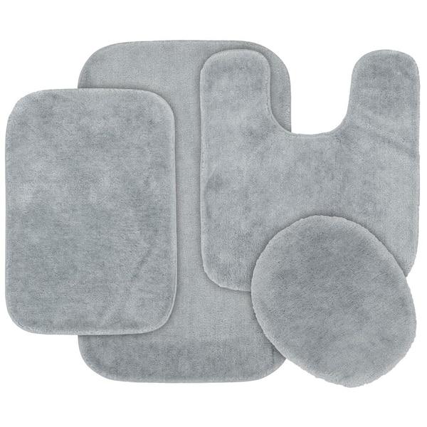 Garland Rug Traditional Platinum Gray 4, 5 Piece Bathroom Rug Set