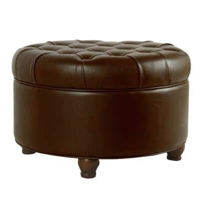 Brown Leatherette Upholstered Wooden Ottoman with Tufted Lift Off Lid Storage