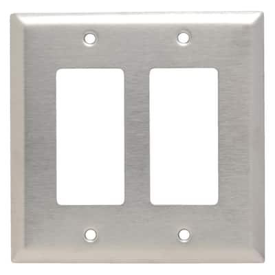 Pass & Seymour 302/304 S/S 2 Gang 2 Decorator/Rocker Jumbo Wall Plate, Stainless Steel (1-Pack)