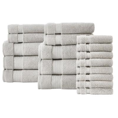 Egyptian Cotton 18-Piece Towel Set in Shadow Gray