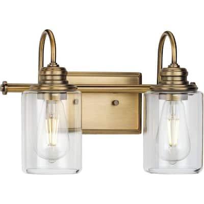 Aiken 2-Light Vintage Brass Clear Glass Vintage Wall Light