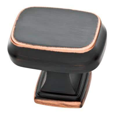 Brightened Opulence 1-5/16 in. (33mm) Bronze with Copper Highlights Square Cabinet Knob