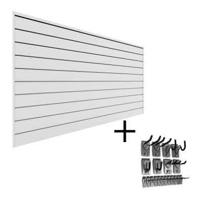PVC Slatwall 8 ft. x 4 ft. White Hook Kit Bundle (20-Piece)