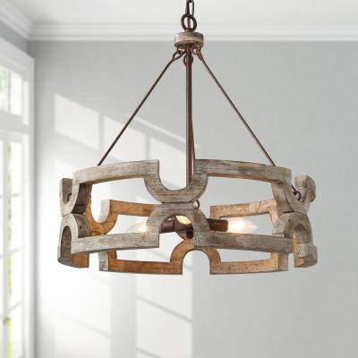 Wood Drum Chandelier, Farmhouse 20 in. Jolla 3-Light Rustic Bronze Weathered Wood Chandelier Dining Room Pendant Light