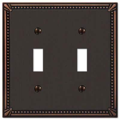 Imperial Bead 2 Gang Toggle Metal Wall Plate - Aged Bronze