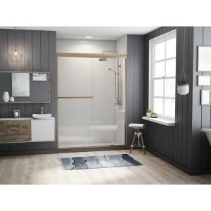 Paragon 3/16 B Series 52 in. x 65 in. Semi-Framed Sliding Shower Door with Towel Bar in Brushed Nickel and Clear Glass