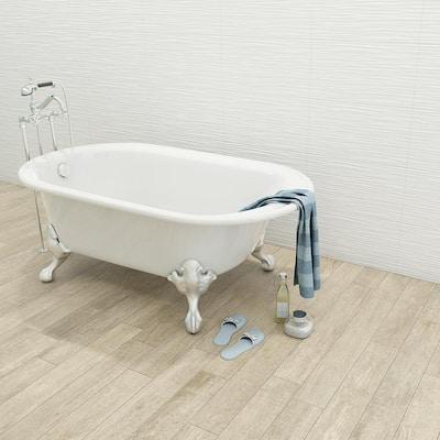 Aqua White 3D 12 in. x 22 in. Ceramic Wall Tile