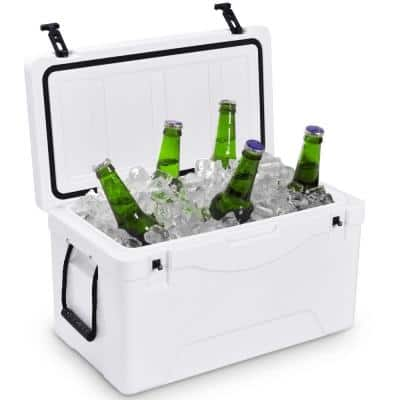 64 qt. Heavy Duty Outdoor Insulated Fishing Hunting Ice Chest Cooler in White