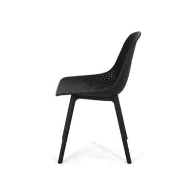 Posey Black Plastic Outdoor Dining Chair (2-Pack)