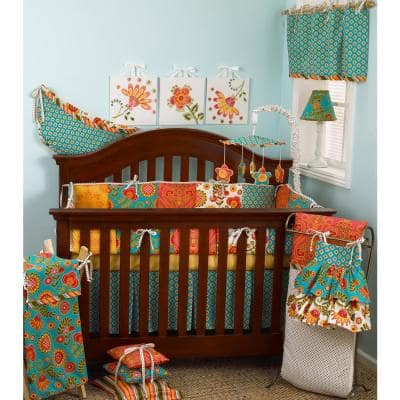 Gypsy 8-Piece Multi Color Floral Crib Bedding Set