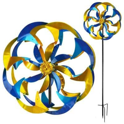 84 in. Yellow and Blue Flower Power Spinner