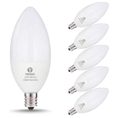 UL-Listed 60-Watt Equivalent 6W C11 LED Light Bulb E12 Base in Daylight White 5000K (6-Pack)