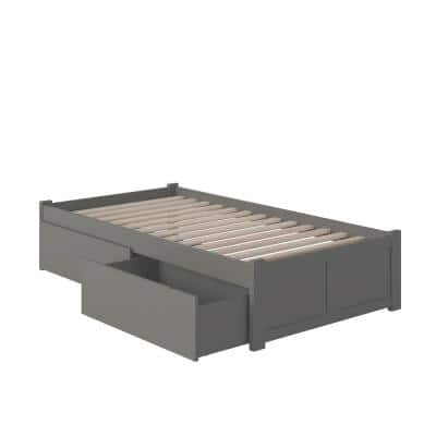 Concord Twin XL Platform Bed with Flat Panel Foot Board and 2-Urban Bed Drawers in Grey