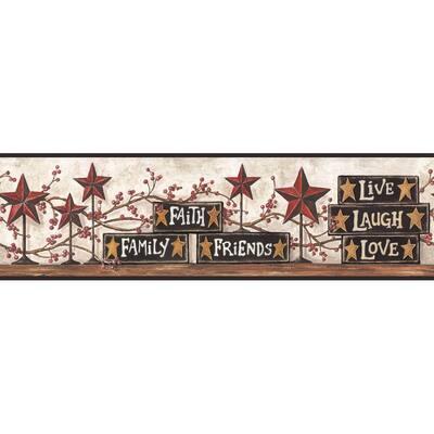 Stars & Blocks on Shelf Border Brown Wallpaper Border