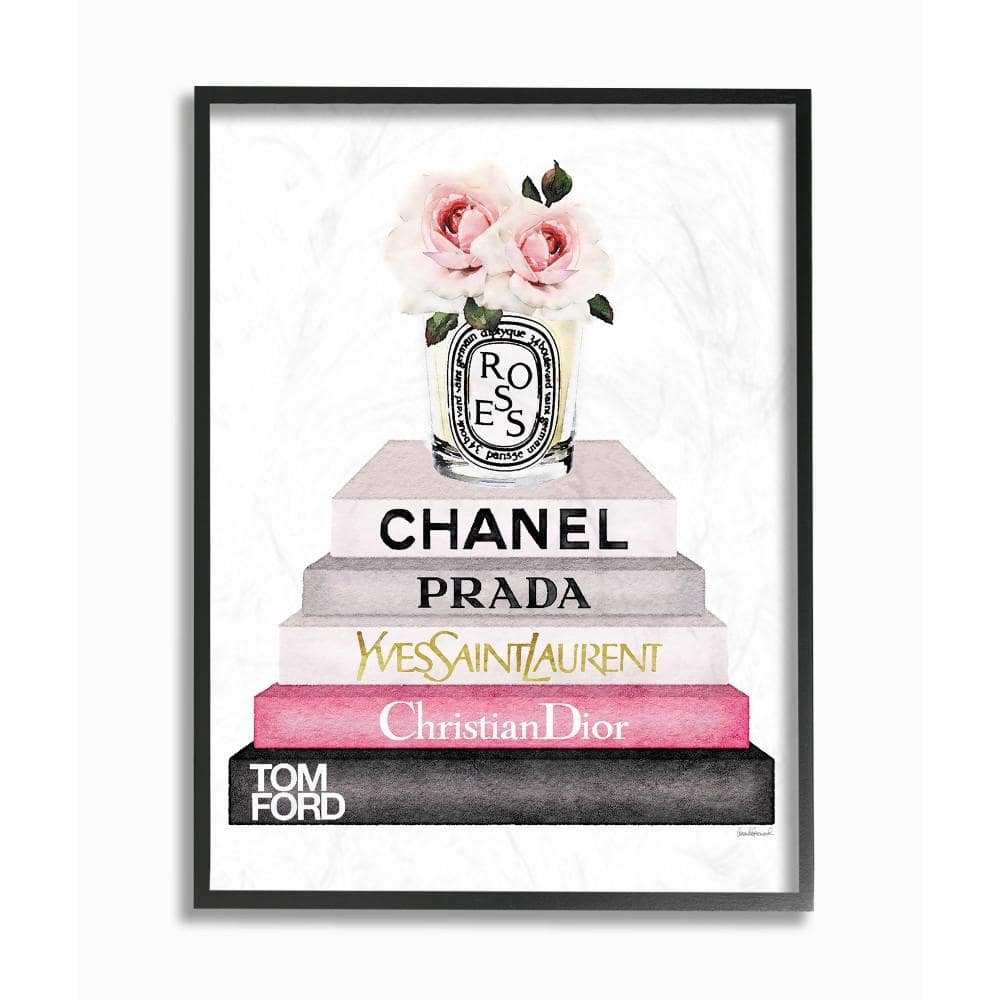 The Stupell Home Decor Collection 11 In X 14 In Book Stack Fashion Candle Pink Rose By Amanda Greenwood Wood Framed Wall Art Agp 116 Fr 11x14 The Home Depot