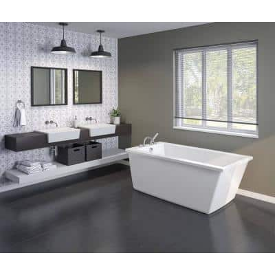 Elinor 60 in. Fiberglass End Drain Non-Whirlpool Flatbottom Freestanding Bathtub in White