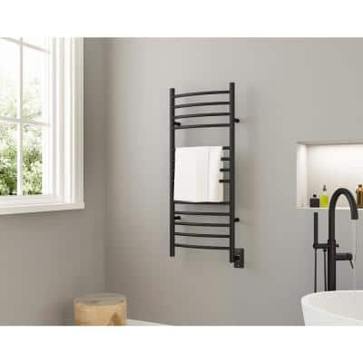 Svelte Rounded 13-Bar Hardwired Electric Towel Warmer and Drying Rack in Matte Black
