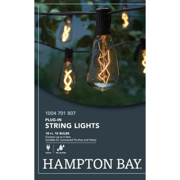 Hampton Bay - Outdoor/Indoor 10 ft. Light Line Voltage ST40 Vintage Bulb Incandescent String Light (10-Heads)