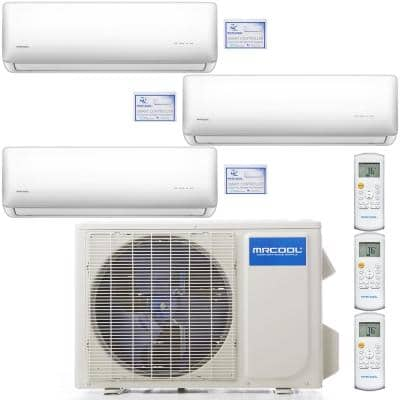 Olympus 36,000 BTU 3 Ton 3-Zone Ductless Mini Split Air Conditioner and Heat Pump, 25 ft. Install Kit - 230V/60Hz