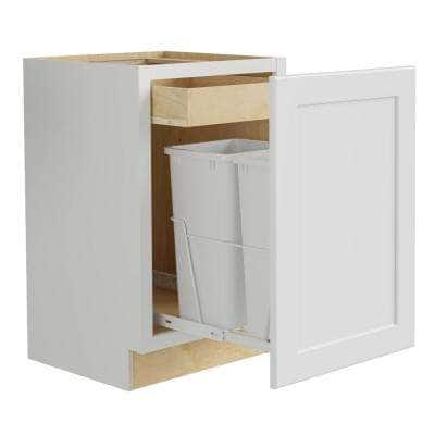 Newport Assembled 18x34.5x24 in. Plywood Shaker Double Wastebasket Base Kitchen Cabinet in Painted Pacific White
