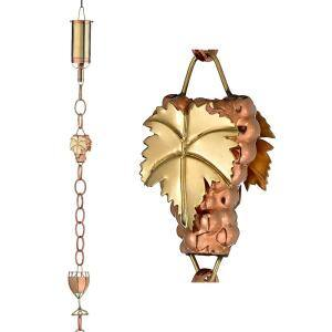 Wine Bottle with Grapes and Glasses Pure Copper 8.5 ft. Rain Chain