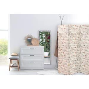 5 ft. 3-Panel White Washed Brick Room Divider