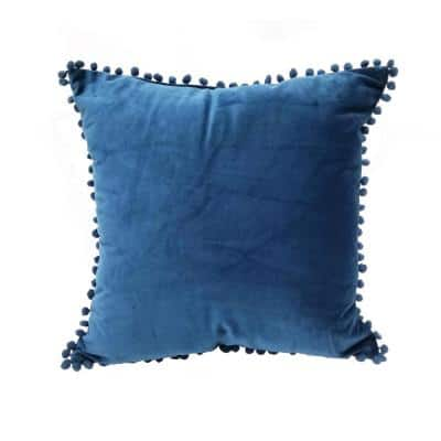 Pompom Navy Solid Polyester 18 in. x 18 in. Throw Pillow