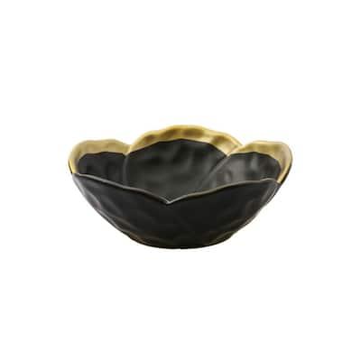 Black Porcelain Flower Shaped Bowl with Gold Rim