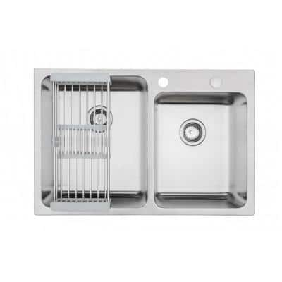 Topmount Drop-In 18G Stainless Steel 33 in. 2 Hole 60/40 Double Bowl Kitchen Sink w/ Collapsible DishRack & 2 Strainers