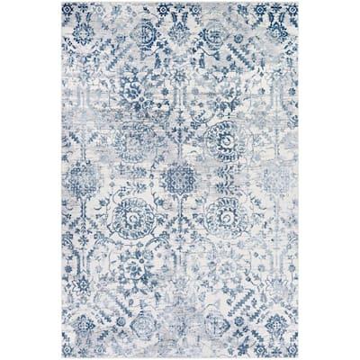 Calinda Marlowe Steel Blue-Ivory 8 ft. x 11 ft. Area Rug