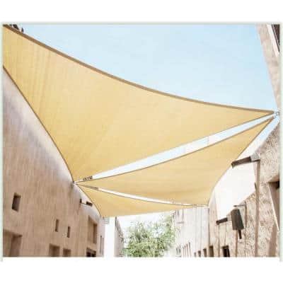 16 ft. x 16 ft. 190 GSM Beige Equilateral Triangle Sun Shade Sail Screen Canopy, Outdoor Patio and Pergola Cover