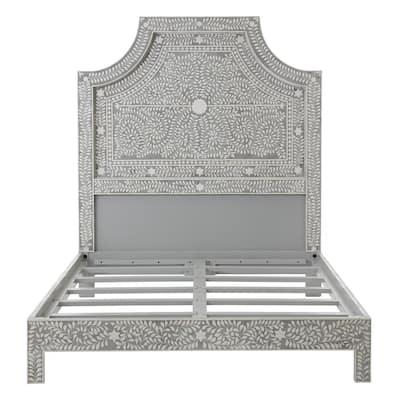 Dhara Bone Pantone Grey Queen Bed