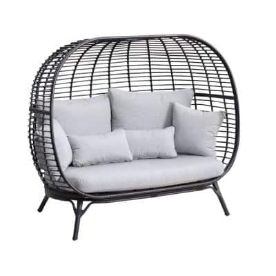 Clark Black Wicker Outdoor 2-Person Egg Chair Loveseat with Gray Cushions