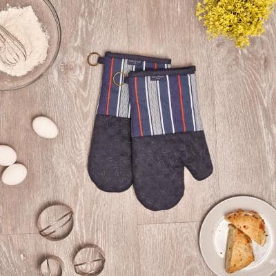Navy Multi Stripe 100% Cotton Oven Mitts With Silicone Grip (Set of 2)