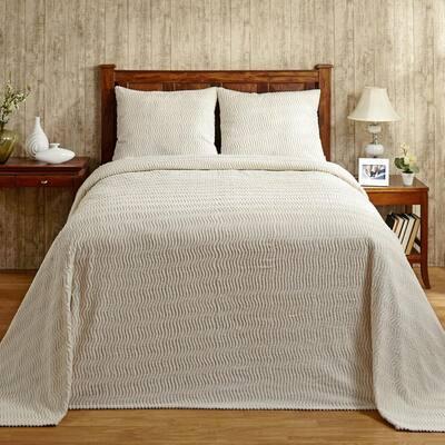 Natick 3-Piece 100% Cotton Ivory Queen Wavy Stripes Design Bedspread Set
